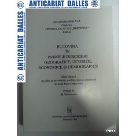 BUCOVINA in primele descrieri geografice,istorice,economice si demografice -Radu Grigorovici