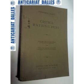CRITICA RATIUNII PURE - Immanuel KANT -1930